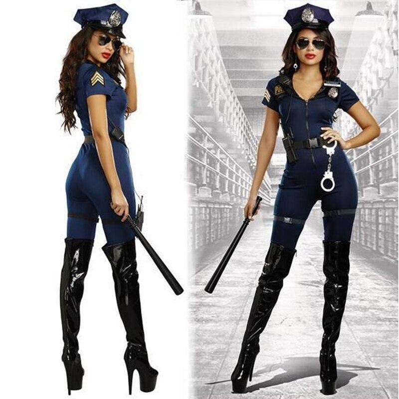 2018 Nieuwe Stijlvolle Vrouwelijke Politie Kostuum Volwassen Halloween Cosplay Politieman Uniform Sexy Diepe V-hals Blauw Jumpsuit Kostuum Om Het Lichaamsgewicht Te Verminderen En Het Leven Te Verlengen