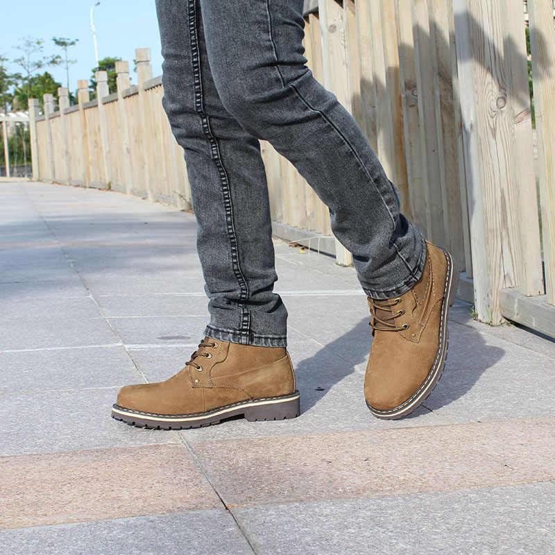 ROXDIA artı boyutu 39-50 hakiki deri erkek botları erkek ayakkabıları kürk erkek kış çizmeler sıcak kar botları su geçirmez çalışma RXM428