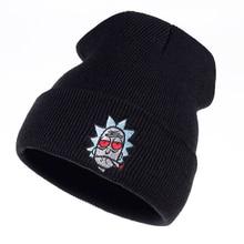 Рик и Морти шапочка Рик курительные шапки эластичные брендовые вышитые теплые зимние вязанные шапочки Skullies анимация США лыжные красные глаза шапка