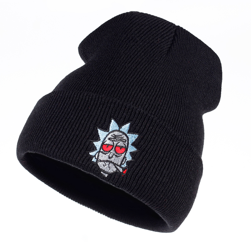 Rick And Morty Beanie Rick Smoking Hats Elastic Brand Embroidery Warm Winter Knitted Hat Skullies US Animation Ski Red Eyes Cap