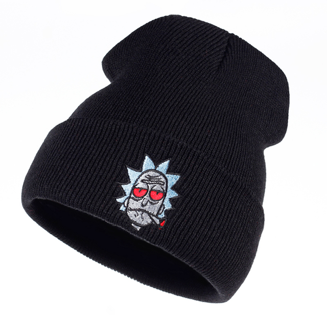 6f365359058 Rick and Morty Beanie Rick Smoking Hats Elastic Brand Embroidery Warm  Winter Knitted Hat Skullies US