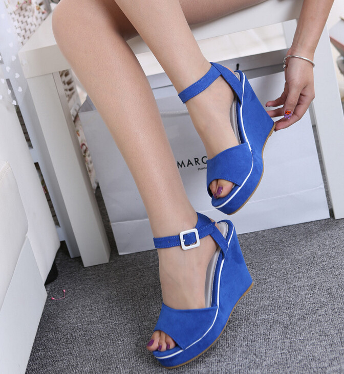 UK SIZE 3 8 Buckled Fashion shoes Women Wedges sandals for Lady Wedges  Summer and Spring   Black 17f59603a