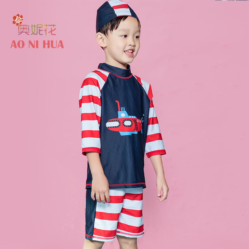 AONIHUA 2017 New Submarine Print Striped Two Piece Swimsuit Boys kids Professional Long sleeve swimwears Children bathing suit