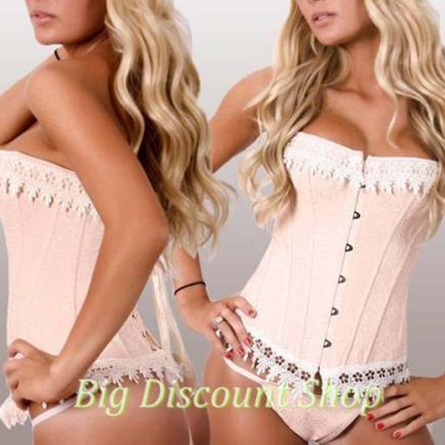 Wolesale Sexy Women's Pink Beige Lace Up Corset Boned Brocade Breathes Corsets And Bustiers Overbust Waist Trainer Corselet TYQ