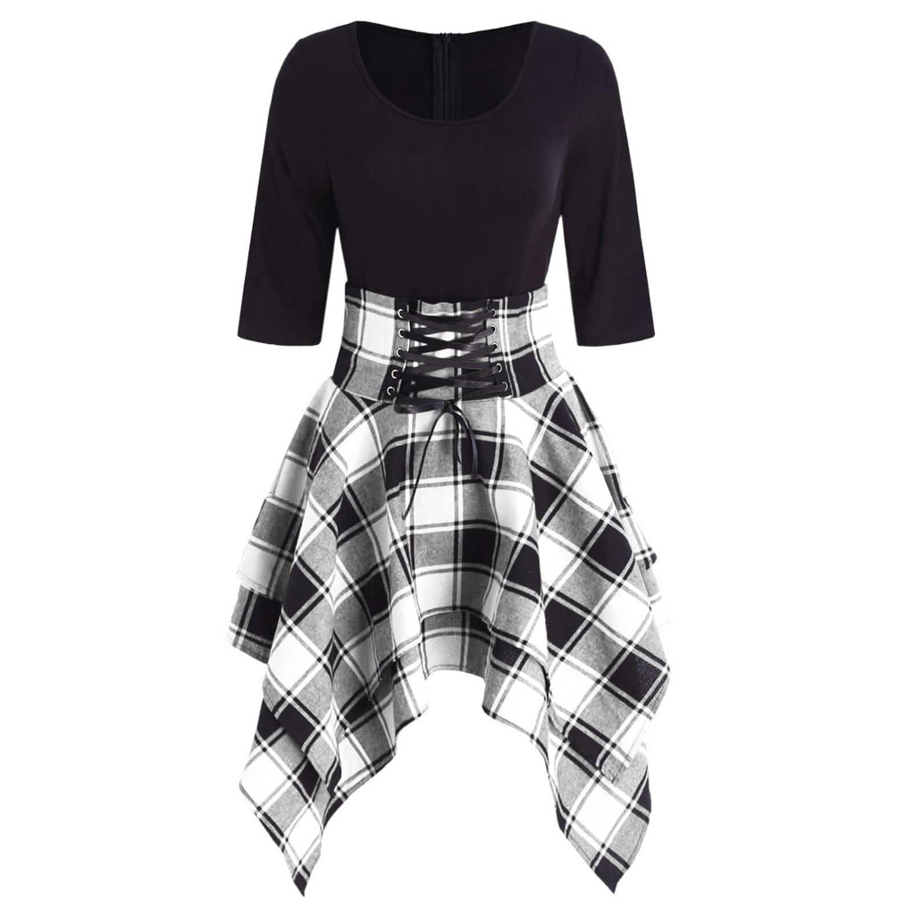 JAYCOSIN O-Neck Fashion Casual  Lace Up Tartan Plaid Print Asymmetrical Women  Mini Dress Paired With Necklaces  Scarves  Hats