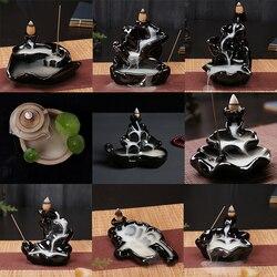 Home Furnace Ornaments Aromatherapy Smoke Creative Buddhist Supplies Lotus Holder Censer Ceramic Burner Backflow Free Incense
