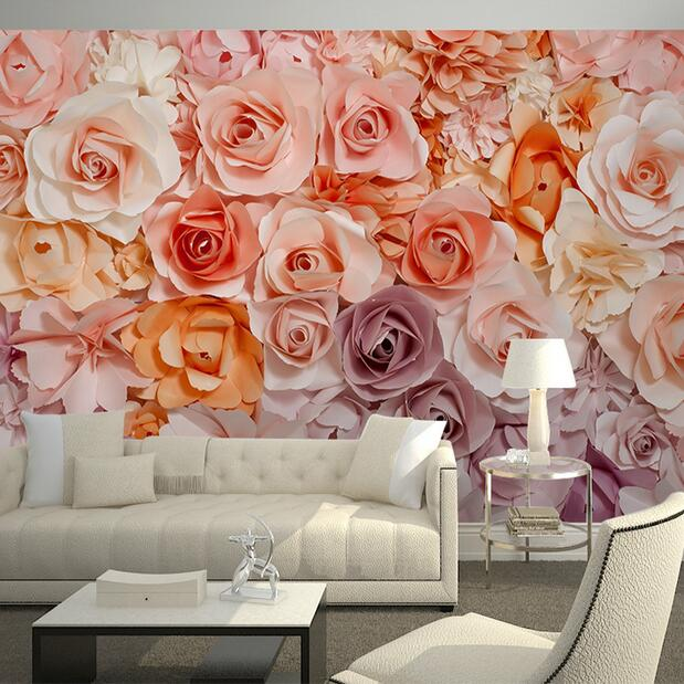 Flowers Wall Wallpapers Design For Your Bedrooms Decorating: Wholesale Large Custom Rose Flower Murals Wallpaper For