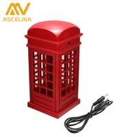 ASCELINA LED Lampada Da Tavolo Design Elegante Retro London Telephone Booth Design USB Ricaricabile LED Touch Night Light Lampade