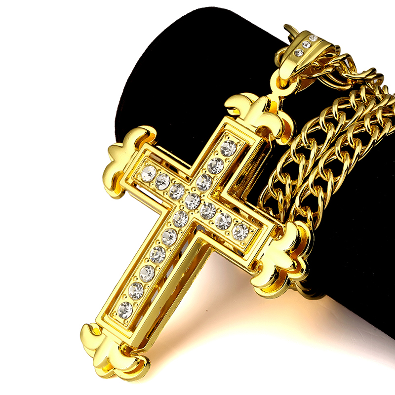 NYUK Double Layer <font><b>Cross</b></font> Pendant Necklace With Rhinestone Crucifix Chain Pendant For Women Men Hip Hop Fashion Jewelry For Gift