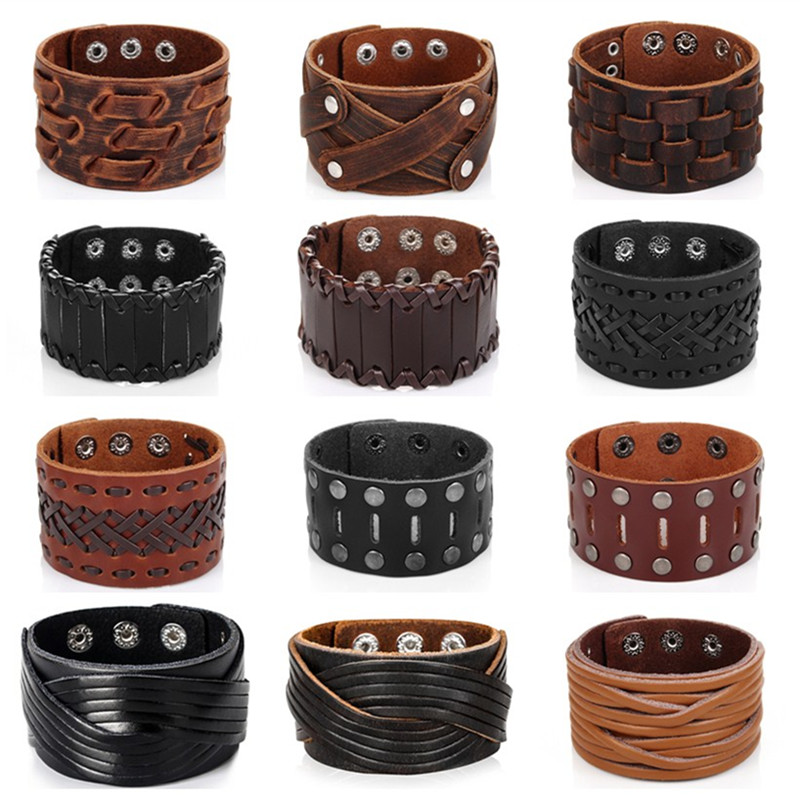 Obsede New Fashion Men Wide Leather Bracelet Brown Cuff Bracelets Amp Bangles Wristband Vintage Punk Jewelry 3 Row Clasps Bangle