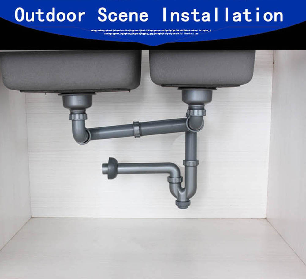 Talea Double Kitchen Sink Drainer Drain Pipe Rear Position Drainage System Basin Kit Hose And Strainers