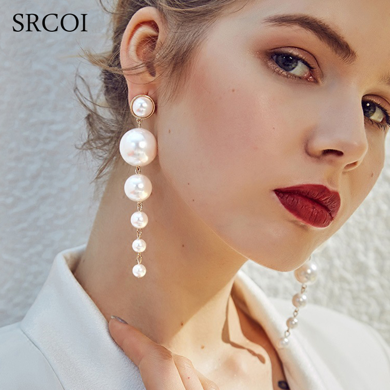 SRCOI Trendy Elegant Created Big Simulated Pearl Long Earrings Pearls String Statement Dangle Earrings For Wedding Party Gift