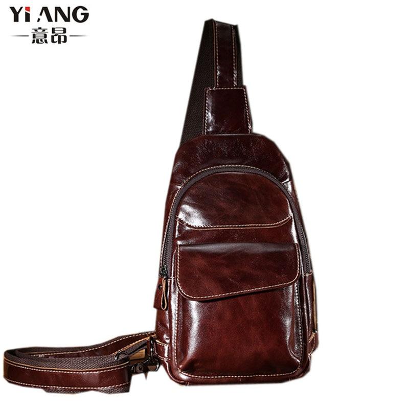 все цены на Men Vintage Oil Wax Genuine Leather Cowhide Sling Chest Back Day Pack Travel Messenger Shoulder Bag