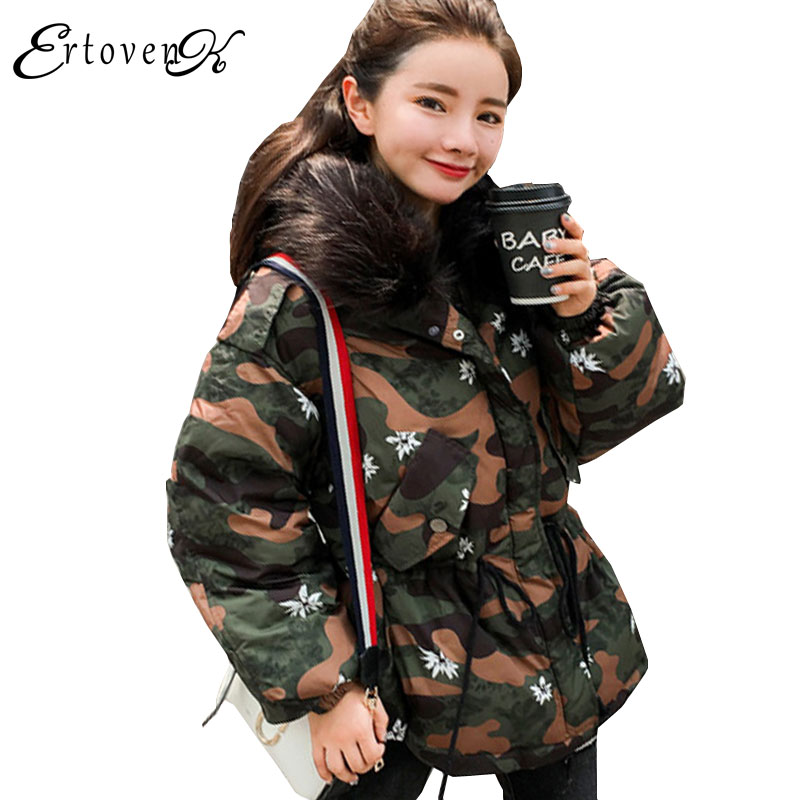 Parkas Plus size Women Hooded Large Fur collar Printed Coat 2017New Winter Feather Padded Female Overcoat Dovetail OuterwearC100 big fur collar hooded slim cotton coat 2017 winter new parkas women thick overcoat plus size female feather padded outerwearc147