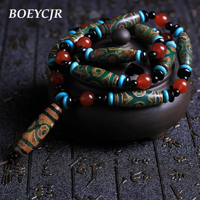 BOEYCJR Natural Stone Necklace Long Chain Handmade Ethnic NINE EYES TIBETAN DZI Beads Pendant Necklace For Women or Men 2018 boeycjr yoga jewelry meditation wood necklace chain handmade jewelry ethnic pendant necklace for men and women gift 2018