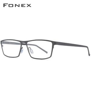 Image 3 - FONEX Pure Titanium Glasses Frame Men 2020 Prescription Eye Glasses for Men Square Eyeglasses Myopia Optical Frames Eyewear 871