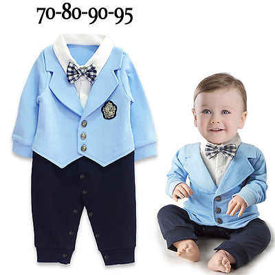 7bf5ba7c7150 Baby Boy Gentleman Bow Party Suit Jumpsuit Rompers Fashion Clothing Formal  Formal Kid Infant Spring Summer