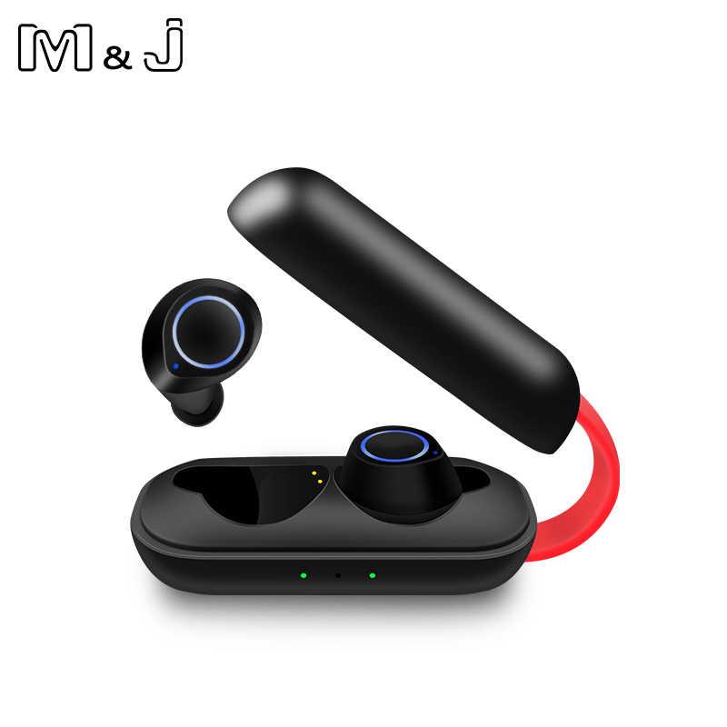 M & J słuchawki Bluetooth słuchawki TWS bezprzewodowe słuchawki Bluetooth 6D stereofoniczny zestaw słuchawkowy Bluetooth słuchawki z mikrofonem i okno ładowania