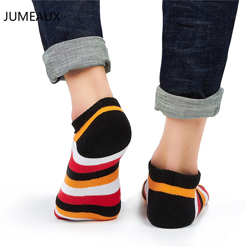 JUMEAUX 5 Pairs Funky Cotton Striped Low Cut Ankle Socks Colorful Summer Autumn Boat Socks Unisex 2017 Newly