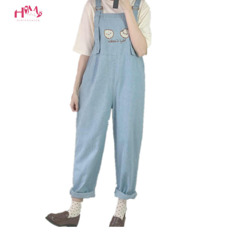 Mode Frauen Denim Overall 2019 Japan Kawaii Stil Cookies Stickerei Lose Jeans Blau Strampler Vintage Weibliche Casual Overalls