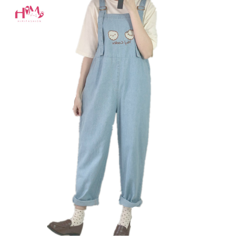 Fashion Women Denim <font><b>Jumpsuit</b></font> 2019 Japan <font><b>Kawaii</b></font> Style Cookies Embroidery Loose Jeans Blue Rompers Vintage Female Casual Overalls image