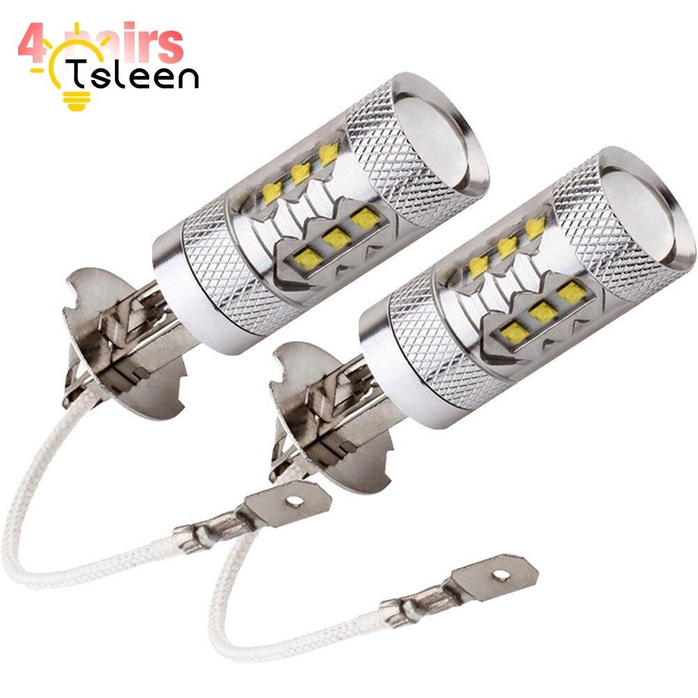 H3 H4 H7 H11 HB3 8pcs=4pairs Fog Driving Tail Turn Reverse Brake Free Super Bright LED Car Light Bulb Auto Lamp White 6000K
