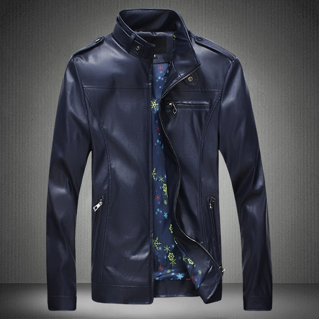 Free shipping 2017 hot new trend of casual Korean version of Slim Men collar leather jacket big yards