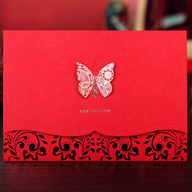 3D Butterfly Design Red Wedding Invitation Card Red Invitaion With Laser  Cut, Professional Design And
