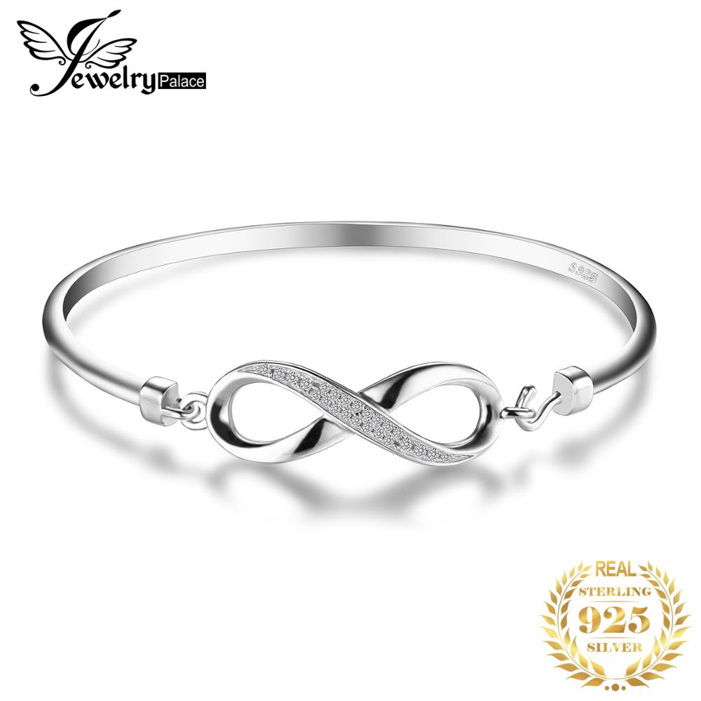 JewelryPalace Forever Love Infinity Authentic 925 Sterling Silver Bracelets Bangles Wedding Bridal Jewelry Anniversary Gifts