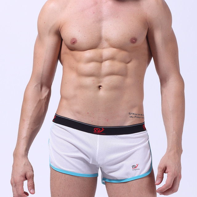 31b61d87a7a Euro Style Man Mesh Boxers Sexy Men Underwear Mens Gym Clothing Male Home  Wear Fashion Basketball Shorts Man Breathable Trunks