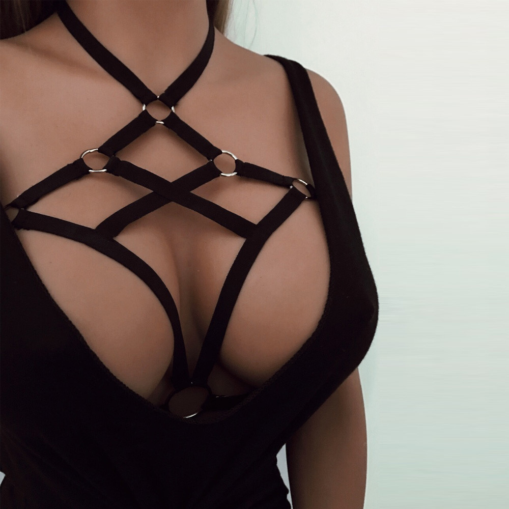 Lsexy Lace Underwear Sexy Lingerie Plus Size Porno Erotic Babydoll Sex Hollow Out Elastic Cage Bra Bandage Strappy Halter Bra D5