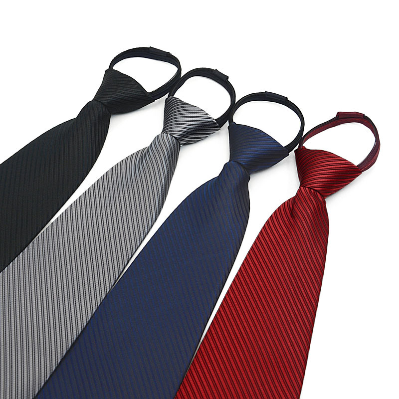 TagerWilen 10cm Necktie For Men Zipper Big Narrow Lazy Tie Easy To Pull Rope Neckwear Zipper Striped Wedding Business Work T-160