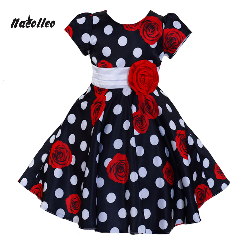 Nacolleo 2017 Girl Dress Spring&Summer Children Clothing Short Sleeve Rose Flower Print Party Princess for Baby Girls Dress 3-8Y 2 8y new 2017 high quality girls party dress 1pc girls vest princess dress children spring autumn dress girl summer dress