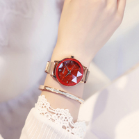 Luxury KIMIO Brand Women s Magnet Suction Clasp Watch Ladies Big Star Dial Dress Watches Stainless steel Mesh Belt Quartz Watch