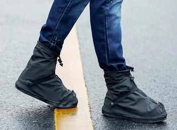 Unisex 25.5-32 cm Preto e Transparente Reutilizável Chuva Sapato Cobre Galochas Plana À Prova D' Água Anti-slip Bota Chuva engrenagem