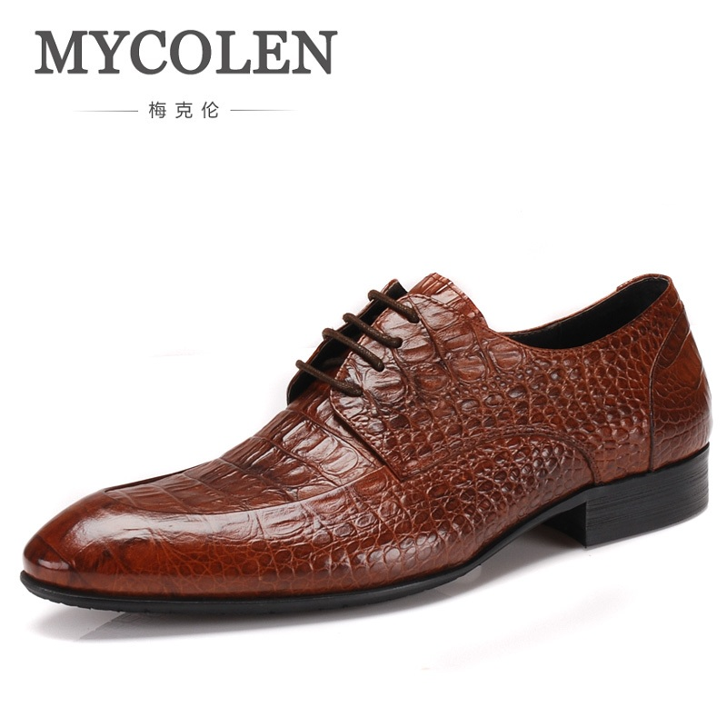 MYCOLEN Brand Crocodile Style Mens Shoes Genuine Leather Italian Fashion Wedding Men Shoes Zapato Formal Hombre hot sale mens italian style flat shoes genuine leather handmade men casual flats top quality oxford shoes men leather shoes