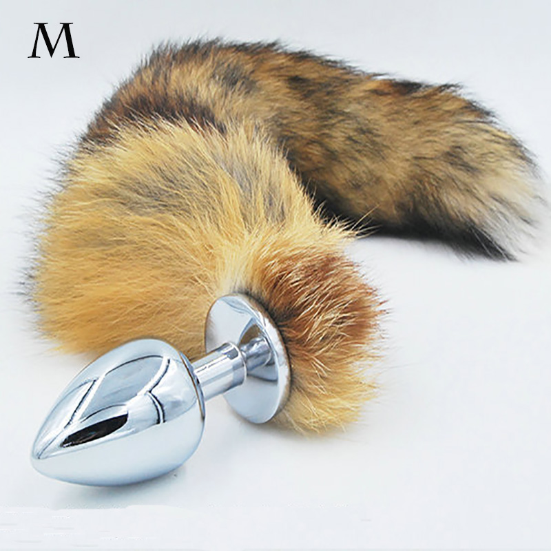 Anal plug Faux fox tail Stainless steel butt plug <font><b>cat</b></font> tail anal plug cosplay anal <font><b>sex</b></font> <font><b>toys</b></font> games metal butt plug dog tail image