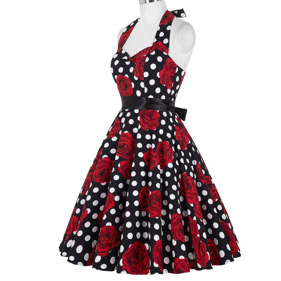 US $17.917 17% OFFVintage Rockabilly Kleider Frauen 17s 17s Party Floral  Print Sommer Kleid Pinup Schaukel Audrey Hepburn Kleid 17 Vestido