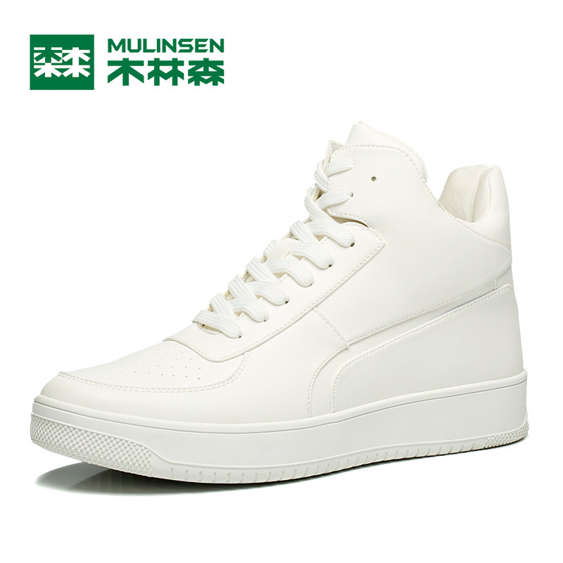 ФОТО MuLinSen Men's Sports Skateboarding shoes White/black Leather Wear Non-slip Outdoor Sport Shoes Traning Sneakers 260097