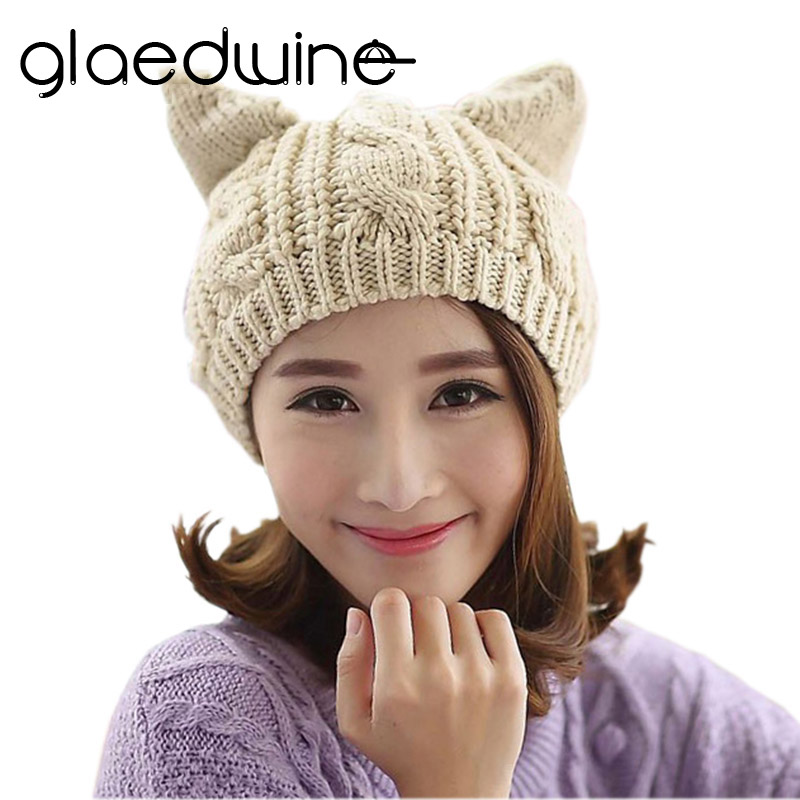 Glaedwine Women's Knitted Wool Hat Cap Female Cat Ears Gorros Beret Beanie Touca Bonnet Crochet Braided Winter Hats Girl 2017 winter women beanie skullies men hiphop hats knitted hat baggy crochet cap bonnets femme en laine homme gorros de lana
