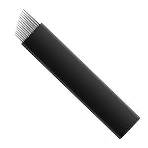 Image 5 - 500 sztuk 0.18mm Flex Nano Laminas Microblading Tebori Agulha 12/14/18 U kształt igły do tatuażu brwi Microblading ostrza czarny