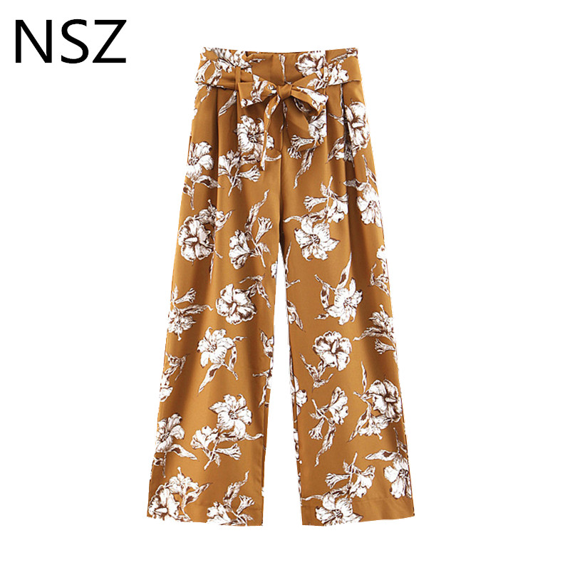 NSZ Women Floral Print Straight Summer   Pant   High Waist with Belt Loose   Wide     Leg     Pant   Full Trousers