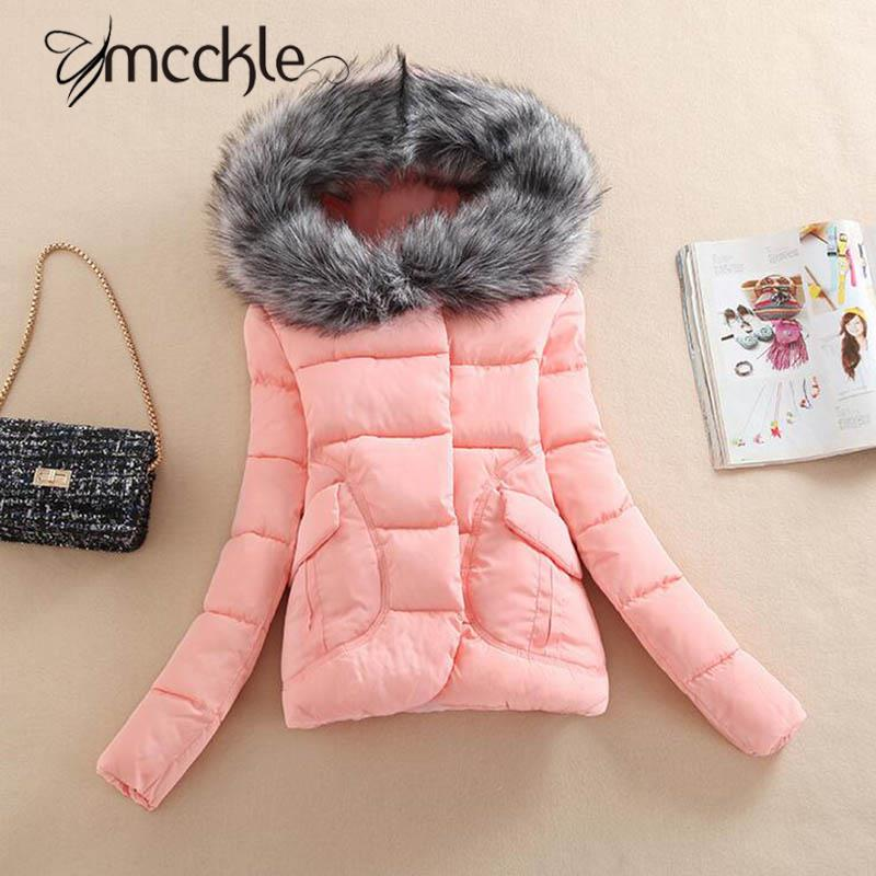 Women's Winter Hooded Parkas Coats With Fur Collar 2016 Fashion Casual Warm Ladies Cotton Parka Jackets With Hat Pockets