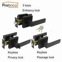 Probrico manillas de puertas negras habitación cerrojos de puerta interior Entrada/Privacidad/pasadizo manijas de puerta con cerradura para herrajes para el hogar