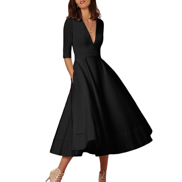 Runway Dresses 2018 Women High Quality Elegant Sexy V Neck Fashion Casual  Party Mid-Calf Black Summer Pleat A Line Dress 2018 711117829122