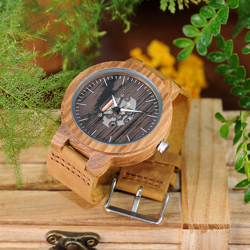 Image 3 - BOBO BIRD Watch Men Real Leather Band Wooden Quartz Wooden Watches Mens Wristwatch Great Mens Gift relogio masculino W H29watch forwatches for menwatch watch -
