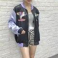 Harajuku дизайн новый стиль весна осень vintage уличная Единорог Pegasus вышивка молния куртка женщин бейсбол clothing