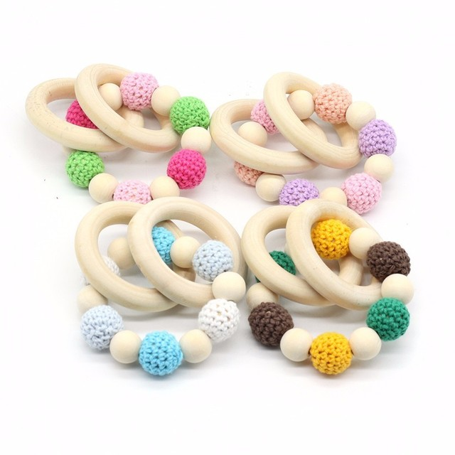 Hand Made Custom Natural Wood Bead Cotton Thread Hook Knit Baby Nipple Play Toys Pacifier Clip Attache Sucette Wooden