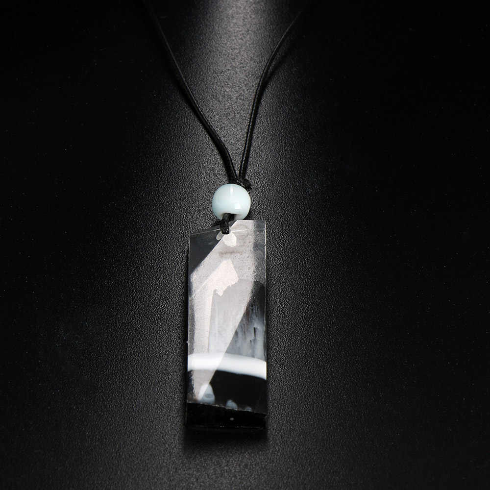 1 Pcs Charm Magic Forest Resin Wood Pendant Necklace DIY Resin Rope Chain Necklace for Men&Women Jewelry