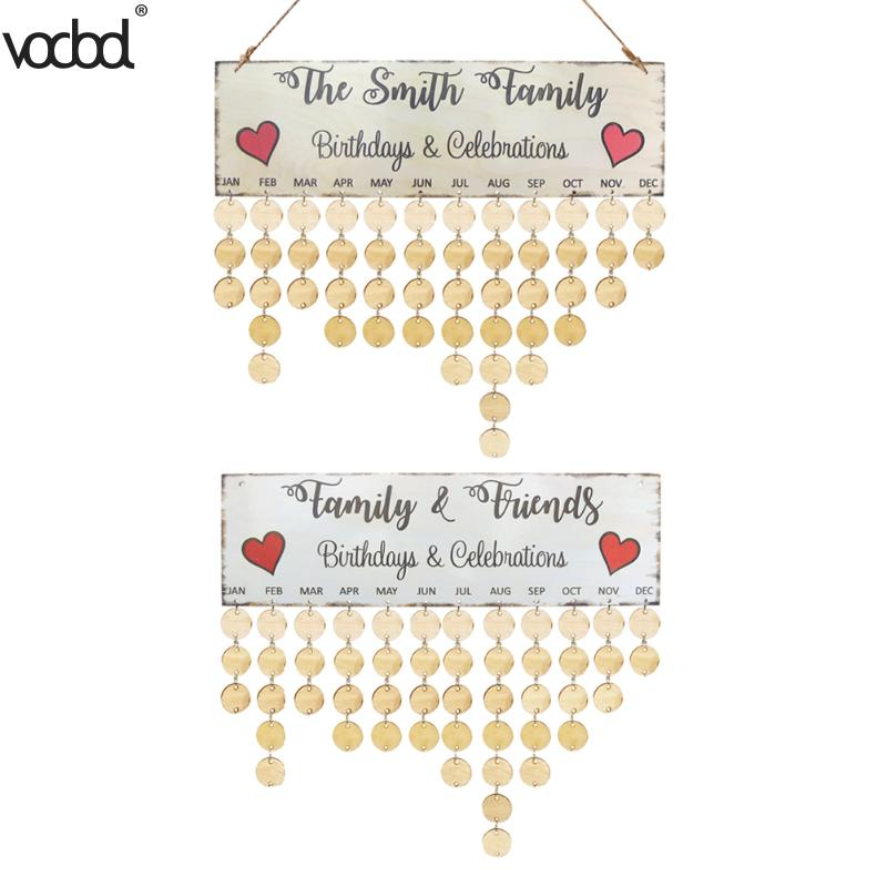 DIY Wooden Wall Calendar Board Family Friends Birthday Date Reminder DIY Hanging Calendar Sign Special Dates Planner Home Decor alloyseed 2018 wooden family birthday calendar wood diy wall hanging specical date sign reminder planner board home decor gift